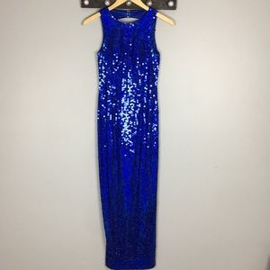 Adrianna Papell Evening DressBlue Sequin Size 4P